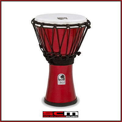 Toca 7″ Freestyle Colorsound Djembe Hand Drum – Metallic Red Finish