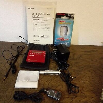 SONY MZ-R900 MD Player Recorder MDLP Red With Recording Microphone & MD
