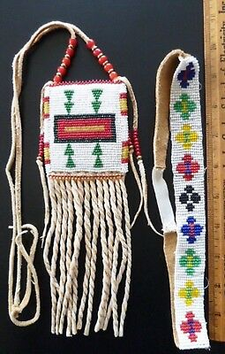 Beaded Leather Tobacco Pouch Medicine Amulet Bag & Headband Beads Tan Suede