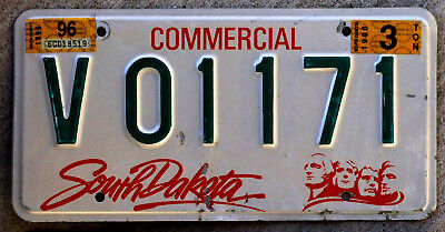 1996 Green Red and White South Dakota 3 Ton Commercial  Truck License Plate