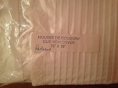 """Custom Made Pillow Cushion Cover White Pintuck+ Lace 16"""" X16 """" 1981 Never Used"""