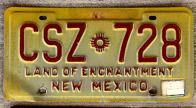 """Red on Yellow New Mexico License Plate """"Land of Enchantment"""" - 1986 Sticker"""