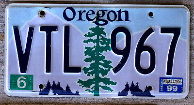 Oregon Pine Tree over Purple Mountains with Blue Sky License Plate 1999 Sticker