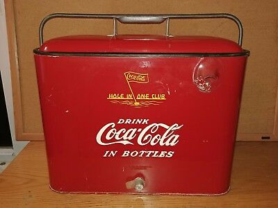 VINTAGE Metal COCA-COLA  Hole in One Club Cooler - Golf Coke