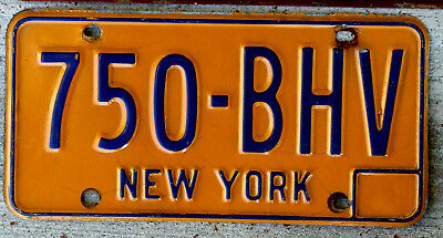 Classic Blue on Orange New York License Plate