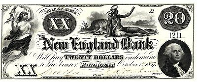 Gorgeous $20 Maine Obsolete, New England Bank Indian Vignette