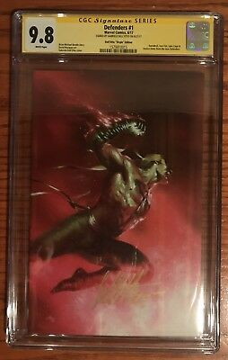 Defenders #1 Signed By Dell'otto Virgin Variant Cgc Ss 9.8 Iron Fist Cage