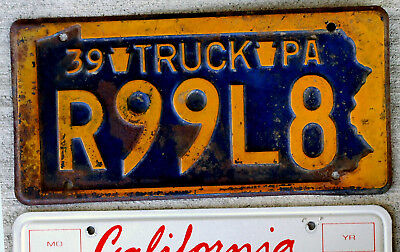 1939 Orange on Blue Pennsylvania Truck Plate