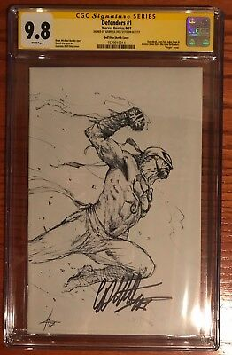Defenders #1 Signed  Dell'otto Virgin Sketch Variant Cgc Ss 9.8 Iron Fist Cage