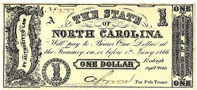 1860 North Carolina $1 Note From The Amon Carter, Jr. Collection