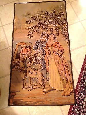 Vintage French Wall Hanging Tapestry Man Woman Child 3 Dogs Buildings