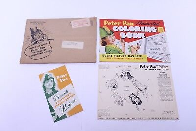 1943 Peter Pan Peanut Butter Advertising Animated Coloring Book Unused W/ Mailer