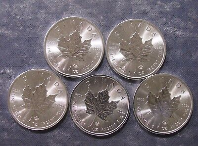 Five (5) Canada 2014 Maple Leaf 1 oz Silver 9999 Fine Coins - No Reserve