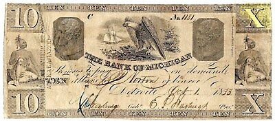 Rare $10 Bank Of Michigan Obsolete Note From 1833