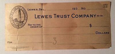 1930's Old Bank Check Lewes Trust Company Lewis Delaware De 381