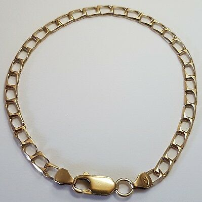 Solid 9ct Gold Curb Bracelet. 4.76 Grams. 4mm Links. Just over 19cm. Scrap/wear