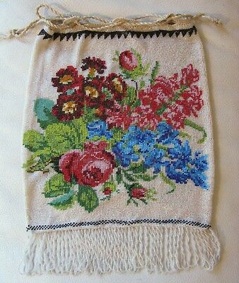 Antique Victorian Crochet Rose Floral French Micro Bead Drawstring Fringe Purse