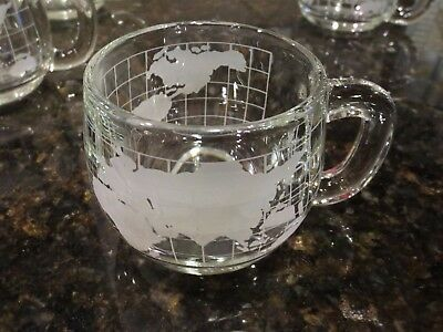 6 Vintage 1970's Nestle Nescafe Clear Glass World Globe Coffee Cups Mugs