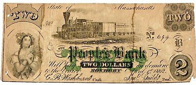 $2 Spurious Obsolete Note, People's Bank, Massachusetts