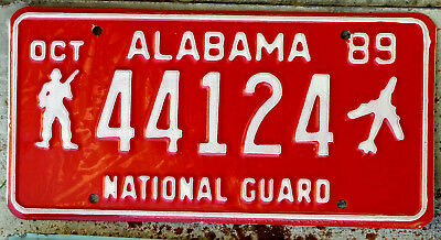1959 White on Red Alabama National Guard License Plate