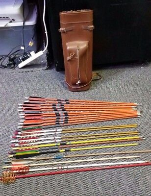LOT OF 22 ARROWS WOOD Micro Flight 7 & 8 + more with Leather Case LQQK