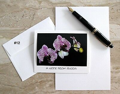 6 Personalized  Note Cards With Detachable Orchid Photos -#12 #44 #236