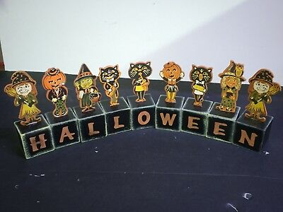 Vintage Wood Halloween Block Spells Halloween --Set of 9- Circa 1950's