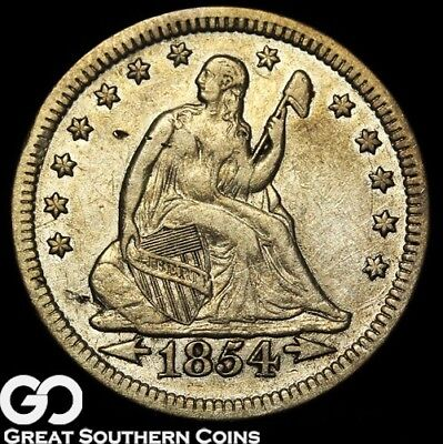 1854 Seated Liberty Quarter, with Arrows