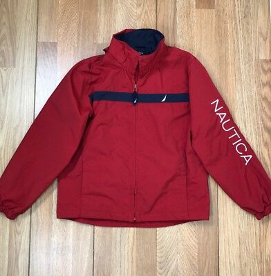 Vintage Boys Kids Nautica Spell Out Jacket Sailboat Red White Blue Size 12 14