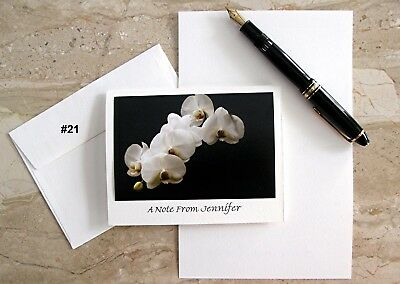 6 Personalized  Note Cards With Detachable White Orchid Photos  #17 #21 #27