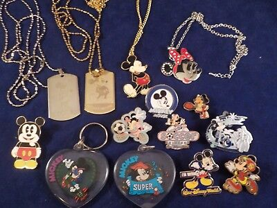 Lot of 14 Walt Disney Mickey Mouse Minnie Mouse Necklaces Lapel Pins Key Chains