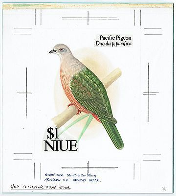 1992-93 Niue Birds Pigeon Dove Original Artwork Essay Adopted Design #607 Unique