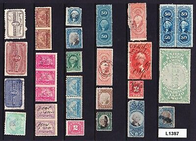 Collection / Lot Very Old Us Revenue & Other Back Of The Book Stamps   (L1387)