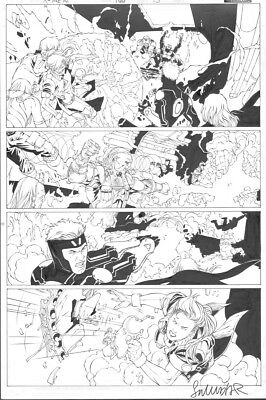 X-MEN # 166 Pg. 15 by SALVADOR LARROCA! SIGNED!! INCREDIBLE BATTLE PAGE!!!