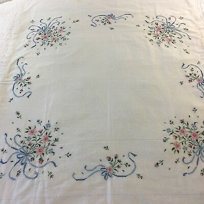 """Darling Vintage Handmade  Floral Cross Stitch Fine Linen Table Square 42"""" X 48"""""""