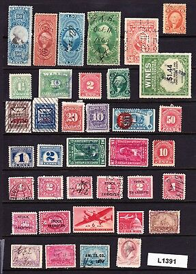 Collection / Lot Very Old Us Revenue & Other Back Of The Book Stamps   (L1391)