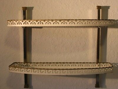 Vintage 1950's Tole 2 Tier Wall Mounted Filigree Metal Shelf Shabby Chic