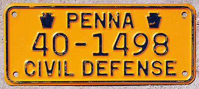 1950s-1960s Pennsylvania CIVIL DEFENSE license plate #40-1498