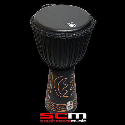 """Hand Carved Djembe Toca Black Mamba 10"""" Rope Tuned Hand Drum With Gig Bag New!"""