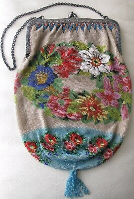 Antique Victorian STERLING SILVER Frame Crochet Floral French Micro Bead Purse