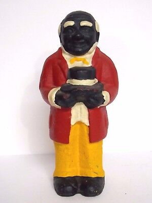 VTG Cast Iron Black Americana Penny Coin Bank Uncle Moses Man Painted Metal 5.5""