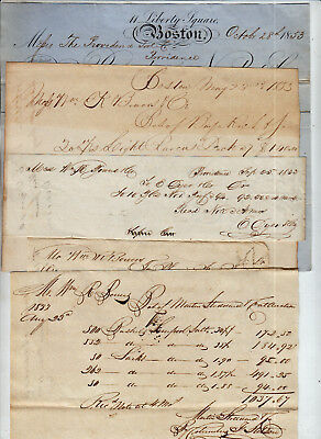 Early American Ship Shipping Bills Of Laden Way Bills 1833 Calligraphy Nice Lot