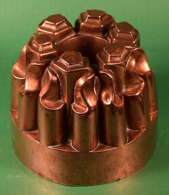 VICTORIAN ANTIQUE COPPER AND TIN FOOD PUDDING MOLD - Abstract top, central hole