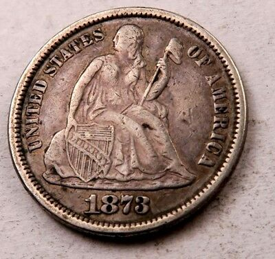 1873 (closed 3) Seated Liberty Dime // XF // Better Date // (D2119)