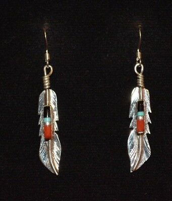 Earrings Feathers Sterling Silver Turquoise, Coral, Native American, Navajo FB