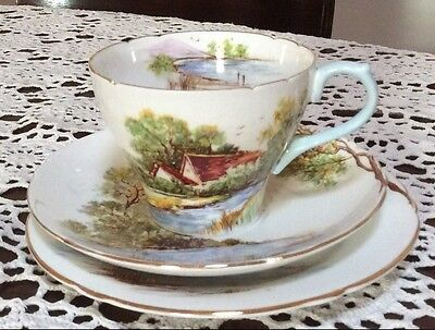 Vintage SHELLEY China Trio Old Mill - cup - saucer - plate