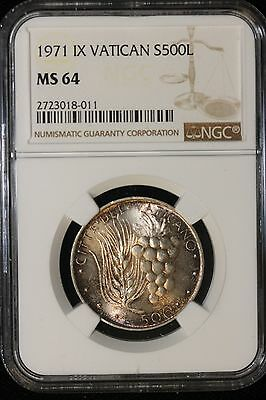 1971 IX Vatican. 500 Lire. NGC Graded MS-65