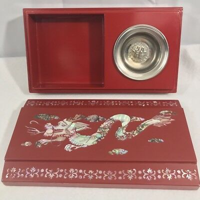 Asian Red Lacquer Cigarette Box with Inlaid Mother of Pearl Serpent