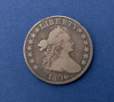 1806 50C Pointed 6 Stem Through Claw Draped Bust Half Dollar