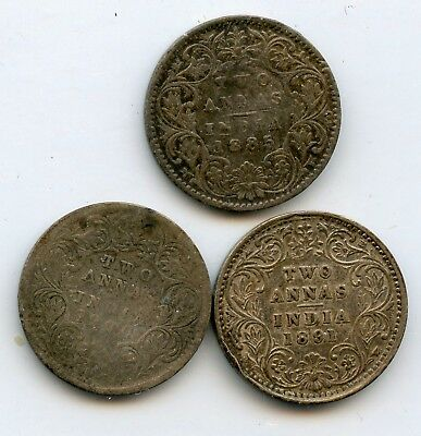 Weeda India lot of 2 Two Annas, 1885-1900, .917 silver, see scans
